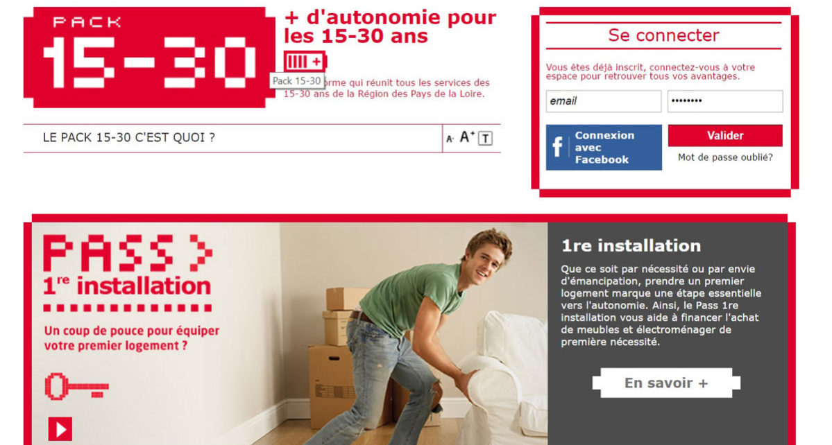 capture d'écran site internet pack 15-30