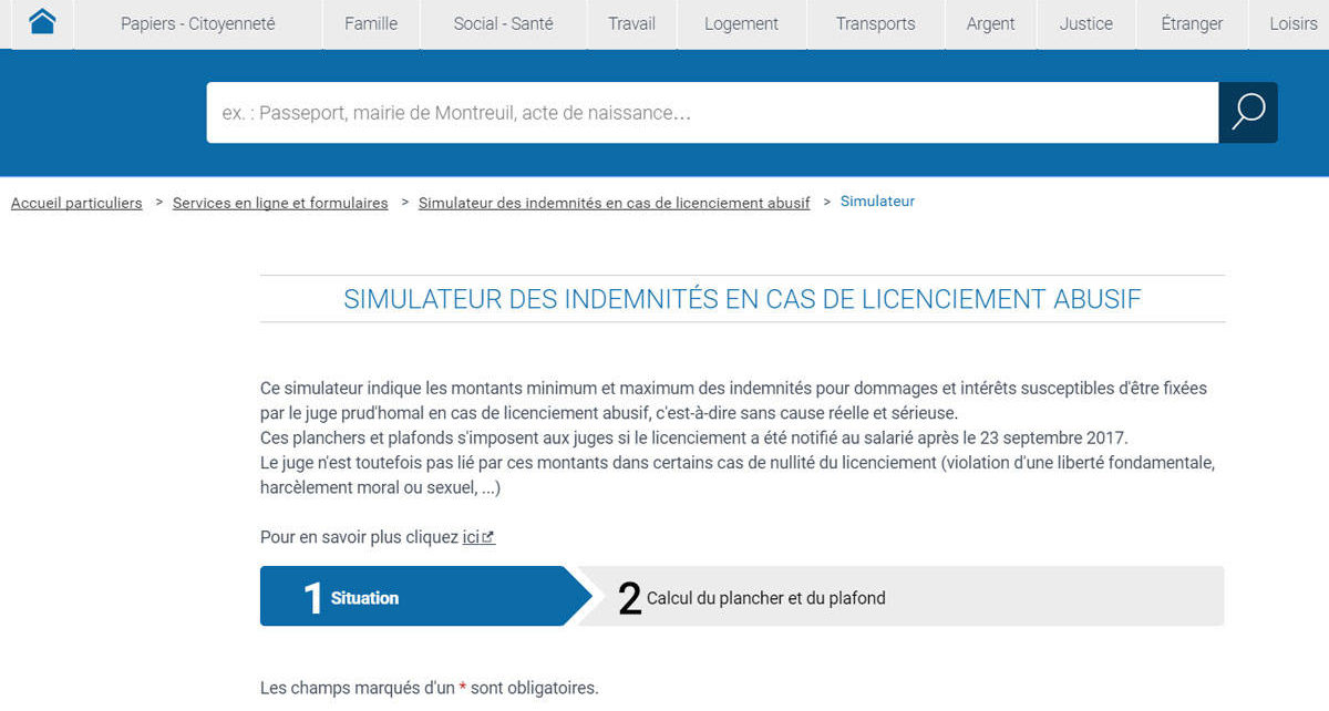 Simulateur d 39 indemnit s de licenciement abusif le for Licenciement abusif